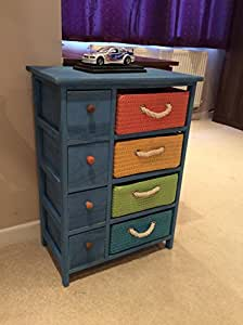 New Boys Bedroom Furniture Wicker Draws Unit Blue Storage Chest Children 39 S Room