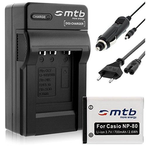 Batteria + Caricabatteria (Auto/Corrente) per Casio NP-80 NP-82, Exilim S5 S6 S7 S8 Z1 Z2 Z16 Z28 Z32.. ZS5 ZS6..vedi list