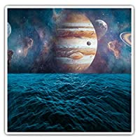 Awesome Square Stickers (Set of 2) 7.5cm - Jupiter Planet Solar System Saturn Moon Fun Decals for Laptops,Tablets,Luggage,Scrap Booking,Fridges,Cool Gift #16784