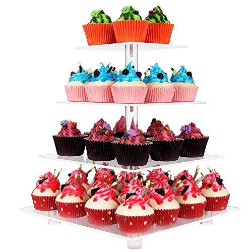 DURCHBLICK Cupcake Ständer, Kuchenständer 4-Stufig Acryl Halten sie Cupcakes Desserts für Nachmittagstee Party Baby Duschen Hochzeiten (Platz)
