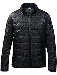 Nouveau Designer Mens simili cuir capitonné manteau fausse fourrure col hiver doublée Zip Jacket