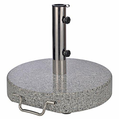 Spetebo Sonnenschirmständer aus Granit - rund - Gewicht 30 kg - Schirmständer mit Rollen und Feststellschrauben