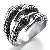 AMDXD Bijoux Acier Inoxydable Bague de Mariage pour Hommes Argent Griffe Forme 19MM,Taille 69