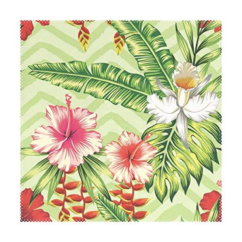XiangHeFu Tischsets Banana Palmenblätter und Blumen rot rosa Hibiskus weiß Orchidee 30,5 x 30,5 cm einteilig hitzebeständig Rutschfest für Esstisch, Polyester-Mischgewebe, Image 280, 12x12x1(in)
