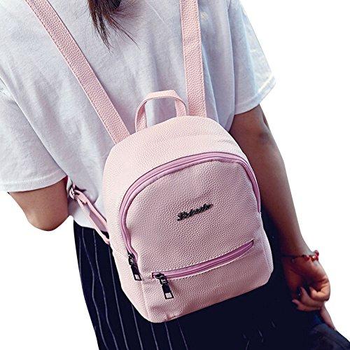 Longra Zaino da viaggio in pelle ragazze sacchetto di scuola Rosa