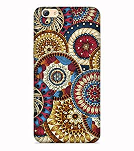 Printvisa Multicolor Ethnic Design Colourful Patterns Round Circular Designer Hard Back Case For Vivo V5s