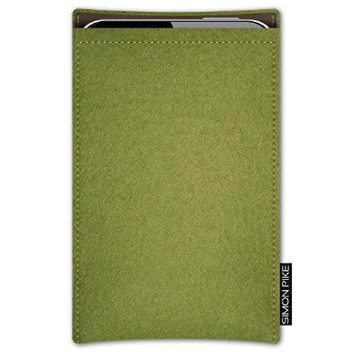 SIMON PIKE AppleiPhone 7 / 6 / 6S Filztasche Case Hülle 'Boston' in anthrazit1, passgenau maßgefertigte Filz Schutzhülle aus echtem Natur Wollfilz, dünne Tasche im schlanken Slim Fit Design für das iP gruen Filz (Muster 2)