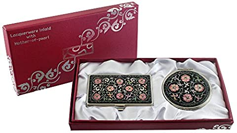 Mother of Pearl Compact Mirror Business Credit Name Card Holder