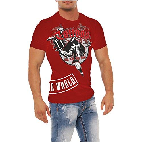 Männer und Herren T-Shirt Tattoos my life my pain mit Rückendruck (Tattoos Mit T-shirts)