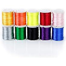 10 Rollos Hilo De Nylon Cuerda Encerado De Mezclamiento Del Color Para Cadena De Cuentas 1mm