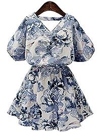 ZLL Robe de swing V cou manches courtes robe femmes vêtements collection robe imprimée floral jupe courte fille , m