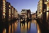 Artland Qualitätsbilder I Alu Dibond Bilder Alu Art 60 x 40 cm Städte Deutschland Hamburg Foto Blau B9NO Speicherstadt Hamburg