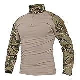 Belloo Herren Camouflage Kampf Shirt für Tactical Airsoft Paintball,CP,XL