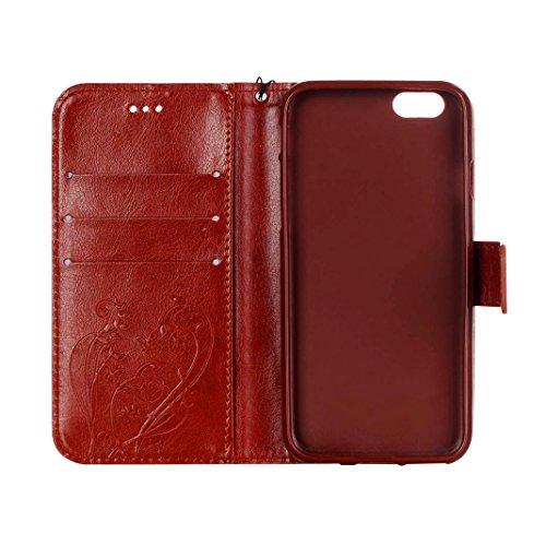 iPhone 7 Flip Cover, iPhone 7 Handyhülle mit Lanyard, iPhone 7 Bumper Flip Case, Moon mood® Mit Diamanten Ledertasche Brieftasche für iPhone 7 (4.7 Zoll) ,PU Leder Hülle Wallet Case Folio Schutzhülle  V-Braun