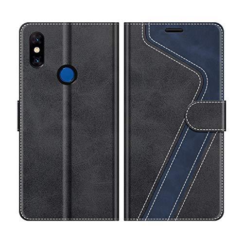 MOBESV Xiaomi Mi Mix 3 Hülle Leder, Xiaomi Mi Mix 3 Tasche Lederhülle Wallet Case Ledertasche Handyhülle Schutzhülle für Xiaomi Mi Mix 3, Modisch Schwarz -