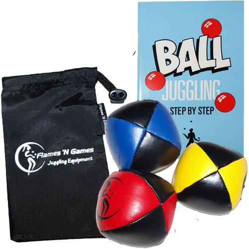 Jonglierbälle 3er Set - Profi Beanbag Bälle aus Glattleder + Bälle-Booklet (Englisch) +Tasche. Komplett-Set Ideal Für Anfänger Wie Auch Für Profis.