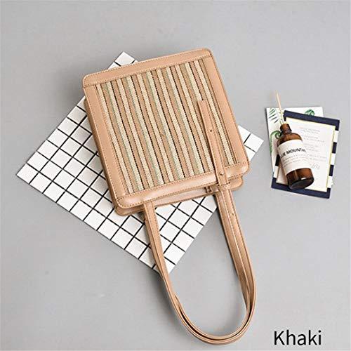 Square Straw Bag Bunte Rattan Dekoration PU Leder Wrap Umhängetasche Khaki -