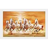 Graphics World Vastu Poster White 7 Horse Vastu Poster, Wall Sticker, Wall Painting, Washable Vinyl Sticker Poster, Natural Sticker, Home Decor, Office Decor Photo, Wallpaper (36 X 24 Inch)