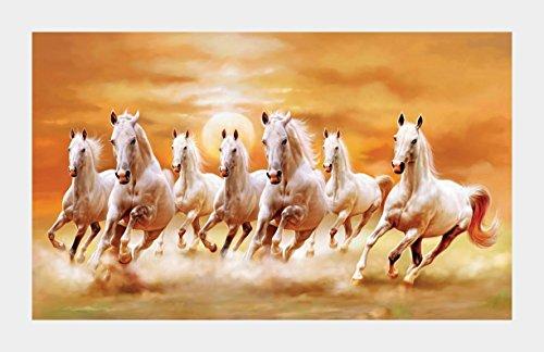 Vastu Poster White 7 Horse Vastu Painting Wall Sticker Wall