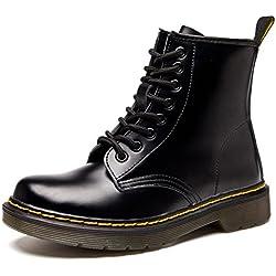 Botas de Mujer Impermeables Botines Hombre Invierno Zapatos Nieve Piel Forradas Calientes Planas Combate Militares Boots,Negro 35