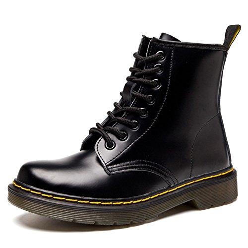 Schwarze Kurze Stiefel (ukStore Damen Martin Stiefel Derby Wasserdicht Kurz Stiefeletten Winter Herren Worker Boots Profilsohle Schnürschuhe Schlupfstiefel, Glatt Schwarz 39)