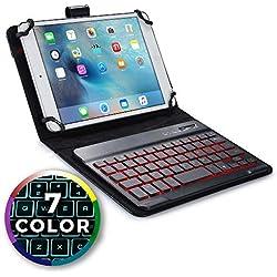 """Cooper Backlight Executive Étui Clavier Tablette 7"""" - 8"""" Coque Cuir 2-1 Folio & Clavier sans Fil Bluetooth 7 Couleurs LED Rétro-Eclairé Batterie 100HR (Noir)"""