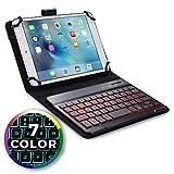 Funda con Teclado para HP 7 Plus, 8 Tablet, 8 G2, Mesquite - Cooper Backlight Executive Carcasa de Cuero 2 en 1, Teclado Bluetooth inalámbrico con retroiluminación LED, 7 Colores (Negro)