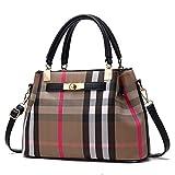 WOAIRAN Frauen Umhängetasche Mode Einfache Elegante Vintage Gitter Druck Handtasche Messenger Bags Damen UmhängetascheSchwarz