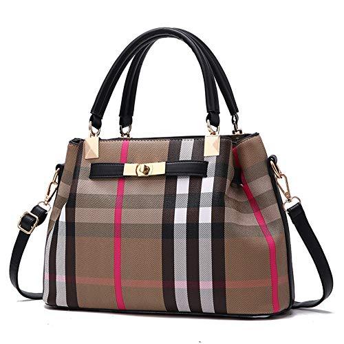 WOAIRAN Frauen Umhängetasche Mode Einfache Elegante Vintage Gitter Druck Handtasche Messenger Bags Damen UmhängetascheSchwarz (Gucci Handtaschen Vintage)