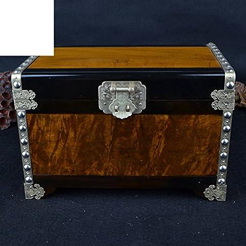Boîtes à bijoux incrustés d'or Zhang Phoebe/Colorplay en cuir ébène frontière officiers/«Jewel box»/bijou-A