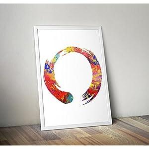 Zen inspirierte Aquarelldruck, Yoga poster A1 23.4 x 33.1 Zoll