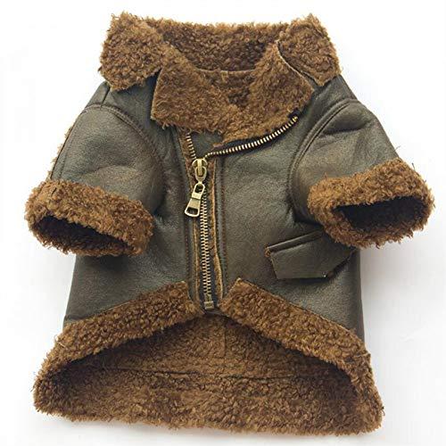 BAONUAN Haustier Kleidung Pu-Leder Hundemantel Jacke Winter Hundekleidung Warm Pet Outfit Yorkie Yorkshire Terrier Kleidung Für Hund Welpen Bekleidung