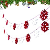 2M Weihnachtsdeko Girlande Weihnachtsgirlande Frohe Weihnachten Filz Fenster Filzgirlande Banner Bunting Kette (Schneeflocken)