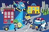 Bilira_Kids Kinderzimmerteppich Polizei Kinderteppich Verbrecherjagt Banküberfall Blaulicht