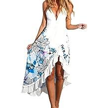Ouneed Mujeres Vintage sin mangas profundas escote en v largo bohemio Maxi fiesta vestido de Cóctel