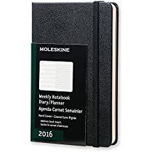 Moleskine 11425 - Agenda semanal 2016, 12 meses, tamaño bolsillo, color negro