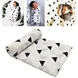 Muslin Baby Swaddle Blankets Baby Long Cotton Wrapping Toddler Blankets Triangle Pattern