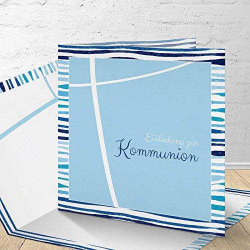 """5 Karten zur Kommunion mit passenden Umschlägen, Motiv """"blaue Streifen"""", Einladungskarten zur Kommunion, Klappkarten im Set zu 5 Stk."""