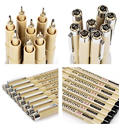 BAO CORE, 8 Verschiedene Farben/Größen zeichnen-mapping/SKETCH/graphic fine Liner Stifte, Tinte Schwarz porös Kugelschreiber 0,05 0,1 0,2 0,3 0,5 0,7 0,8 mm (Mapping-stift)