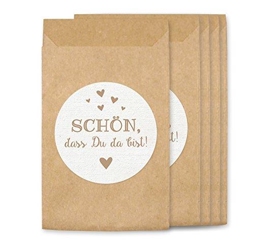 KuschelICH Freudentränen Hüllen & Aufkleber | Tüten für Vintage Hochzeit Taschentücher | umweltfreundlich (100 Stk., Schön)