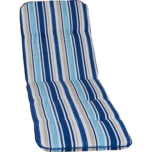 nxtbuy Auflage für Gartenliegen Capri 193 x 60 x 5 cm - Liegenauflage mit Komfortschaumkern und Bezug - Sitzpolster für Gartenliegen - ÖkoTex100, Dessin:Blue Stripes