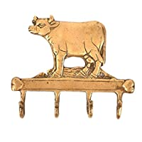 IndianShelf 3 Piece Handmade Handcrafted Artistic Bronze Brass Vintage Cow Hangers Holders Hooks Wall Coats Towels Keys Clothes Hats Bathroom Kitchen Mounted Vintage Utility Classic Solid