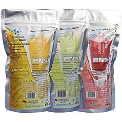3 x 500 g bebida isotónica en polvo KELLERMANN® ISOTONIC CLASSIC. Conjunto con los sabores naranja, citrón, morello. Para los deportes outdoor