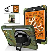 A-BEAUTY Case for iPad Mini 5 2019 / iPad Mini 4 with [Screen Protector] [Stylus] [Pencil Holder] [Handstrap Shoulder], Camouflage Green