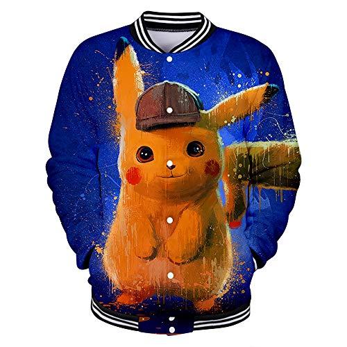 WQWQ Pokemon Jacke für Männer und Frauen Pikachu Weihnachten schlanke Sport Baseballuniform Pokémon Kostüme Vier Jahreszeiten L XL XXL,A,S (Vier Jahreszeiten Sommer Kostüm)