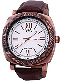 Watch Me Analog White Dial Leather Strap Boys And Men's Watch WMAL-084-Wzilla