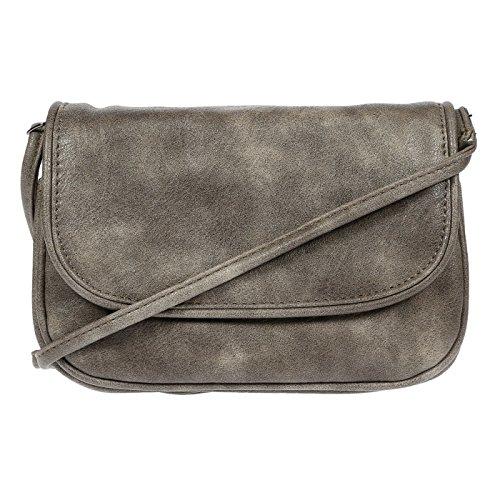 Kleine Damentasche Umhängetasche Tasche Schultertasche hochwertiges Kunstleder Schwarz Grau