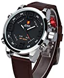 Orologio Uomo in pelle Marrone Zeiger Grand Face LED Dual Time Esercito svizzero Nero resistente all'acqua Acciaio inossidabile Orologio sportivo digitale analogico digitale W297