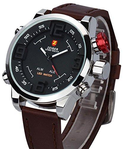 Herren Armbanduhr ZEIGER Herrenuhr Braun LED Analog Quarz Uhr Leder Armband Datum Tag Licht Wecker W297