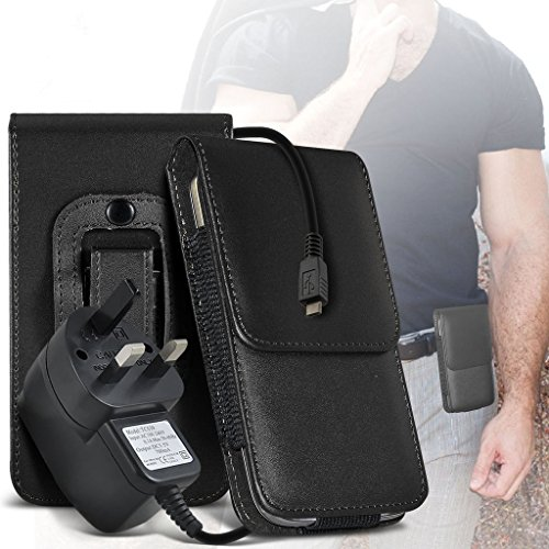 LG G4 Beat case Universal Car Phone Holder Mount Cradle Dashboard & Windshield for iPhone y i -Tronixs Belt Flip+ 3 pin charger (Black)